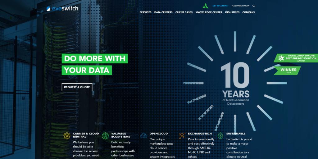 Homepage screenshot EvoSwitch