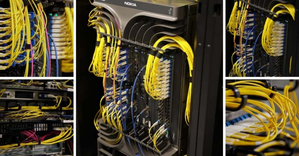 Internet Exchange cables in rack